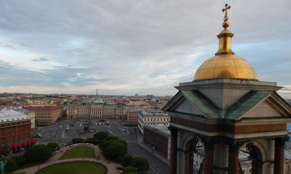 Исаакиевский собор в Санкт-Петербурге. Вид сверху.